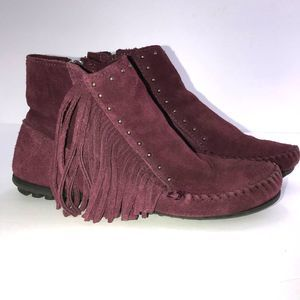 Minnetonka Fringe Booties with Round Studs